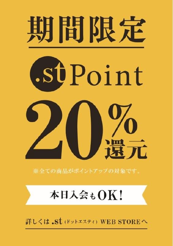 .stポイント20%還元開催中!