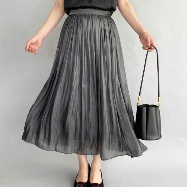 メタリックギャザースカート