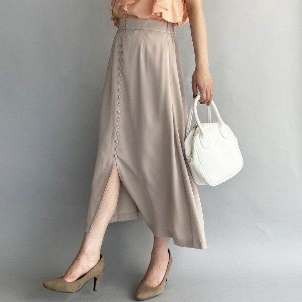 フロントボタンロングスカート
